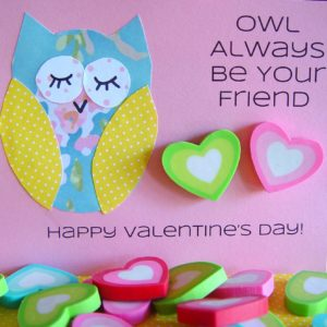 owl valentines button